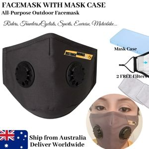 1Set Dual Breathing Valve Gray Face Mask with Case